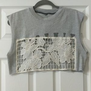 LF Furst of a Kind Lace Front Cropped Tee-- New!!